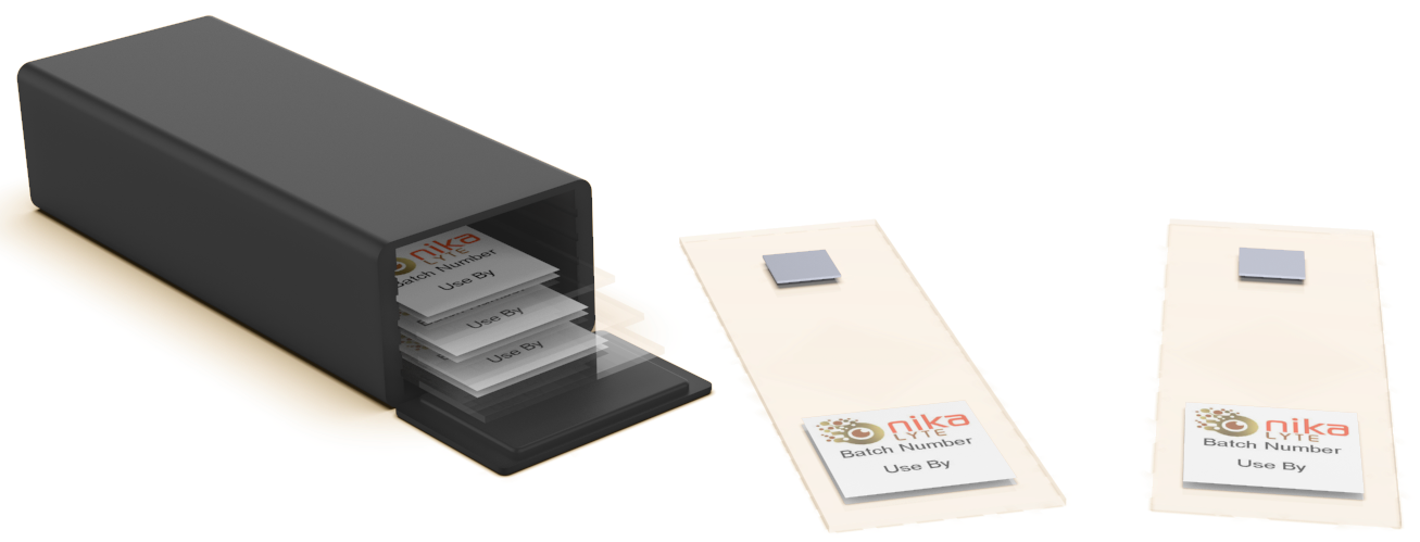 Image of SERS product and carrier for posting 5 substrates.