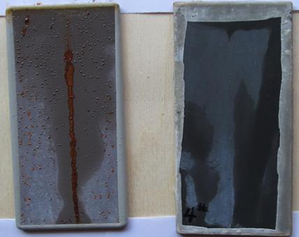 Salt spray test results: Solvent-based epoxy system: 50 µm thickness—zinc powder, D50: 13 µm. Left: 77% zinc dry film. Right: 25% zinc + 1% SE1132 dry film (>3000 hours).