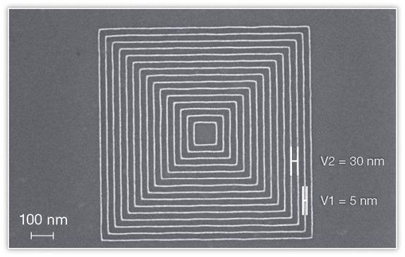 Test pattern with ultra-high resolution lines (5 nm) with 30 nm pitch. Pattern homogeneity is maintained over an entire wafer.