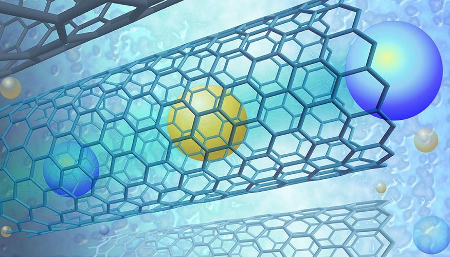 Artistic rendering of fast ion permeation inside single-walled carbon nanotubes.