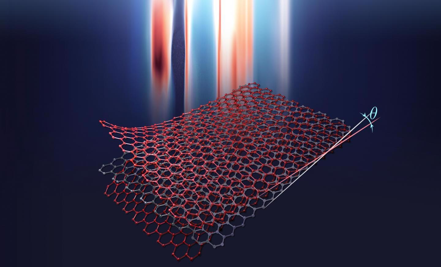 Artist rendition of twisted trilayer graphene.