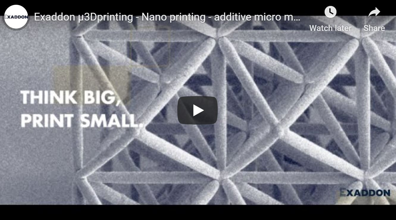 Exaddon µ3Dprinting - Nano printing - additive micromanufacturing of metals