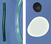AZoM - Metals, Ceramics, Polymer and Composites : Carbon Nanotubes Improve Extrusion Rates and Eliminate Die Swell in Polypropylene - Two examples of how nanotube-filled polymers (thin rod in left photo; small disk in right photo) avoid swelling seen in traditional polymers.