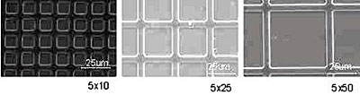 Catalyst micro-patterns generated by soft lithography patterning. The spacing between gridlines is 10, 25 and 50μm (left to right). The width of the gridlines is constant at 5μm.