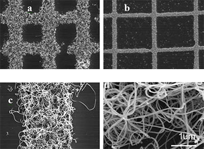 After CVD, carbon nanotube growth occurred only on the micro-patterned areas of the substrate. CNTs were grown on grids with 10μm (a) spacing and 50μm spacing (b). (c) and (d) show a higher magnification of the nanotubes grown within the dimensions of the grids.
