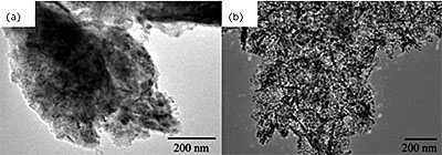 TEM images of (a) 5 wt.% Mo/MgO catalyst reduced at 850 oC for 60 minutes using H2/Ar flow of 200 ml min-1, (b) carbon/catalyst composite prepared on 5 wt.% Mo/MgO at 850oC.