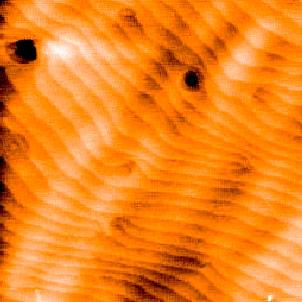 GaN, different sample preparation conditions. Image size 5x5 um, Z-range 1.5 nm