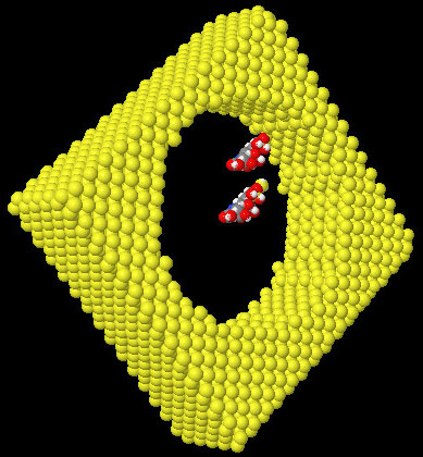 View of the molecular scale of silane molecules compared to a 6nm diameter PS pore. One of the molecule is grafted on the surface. Si (yellow), O (red), H (white), C (grey),and N (blue).